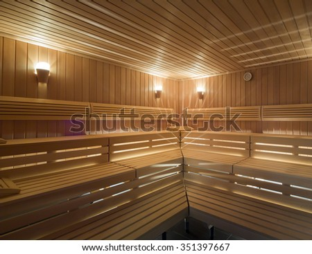 Finland style classic wooden sauna in public building, hotel - stock photo