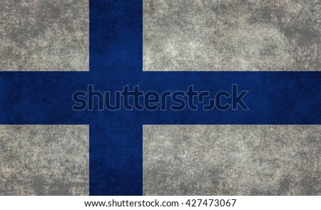 Finnish national flag with a vintage textured treatment - stock photo