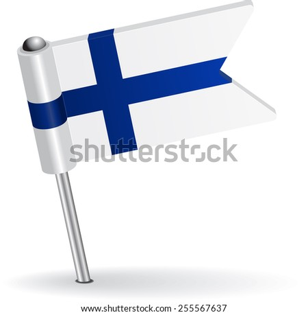 Finnish pin icon flag. Raster version - stock photo
