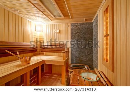 Finnish wooden sauna bath - stock photo