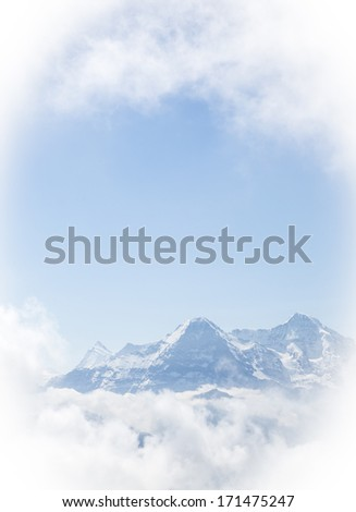 Finsteraarhorn, the North Face of the Eiger and Moench, Bernese Alps, Switzerland, Europa - stock photo