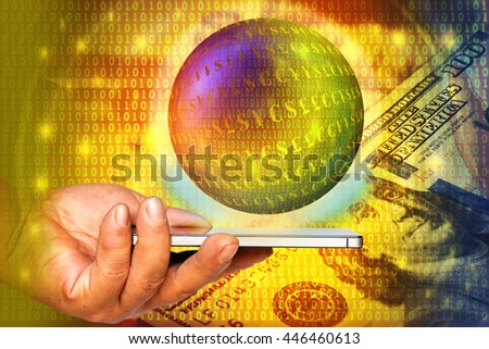 Fintech or Digital currencies concept. Double exposure of hand holding smart phone with currencies and binary bubble on abstract coded money background. - stock photo