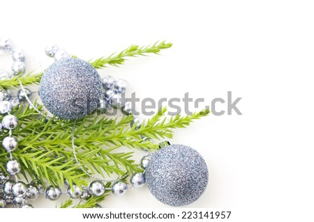 fir and Christmas decoration on a white background - stock photo
