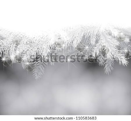 Fir branches with Christmas decoration - stock photo