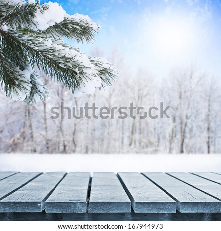Fir tree in snow and wooden walkway - stock photo