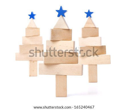 fir tree of wooden bars on white background - stock photo