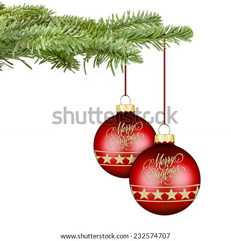 fir with a pair of red golden christmas balls - stock photo