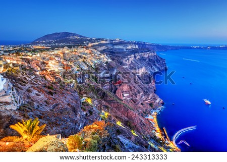 Fira, the capital of Santorini island, Greece at night. Aegean Sea - stock photo
