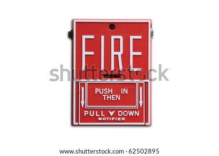 Fire alarm button isolated - stock photo