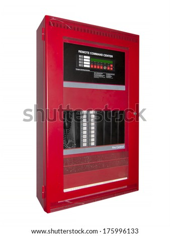 Fire alarm control box, isolated with clipping path - stock photo