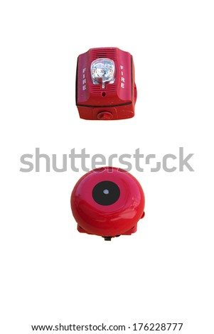 fire alarm on a white background  - stock photo