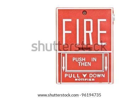 Fire alarm on white background - stock photo