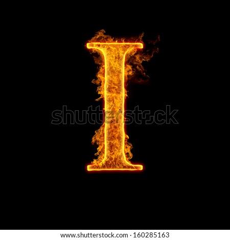 Fire alphabet letter I isolated on black background. - stock photo