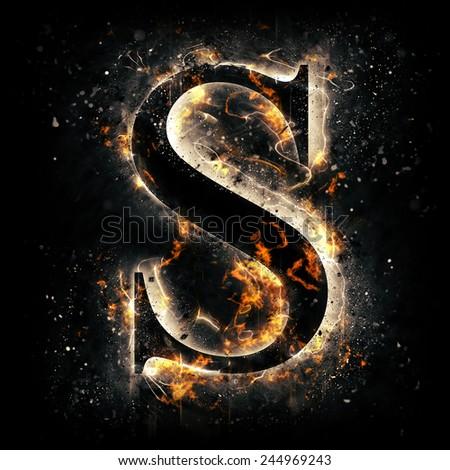 Fire alphabet. Letter S. - stock photo