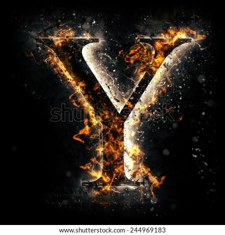 Fire alphabet. Letter Y. - stock photo