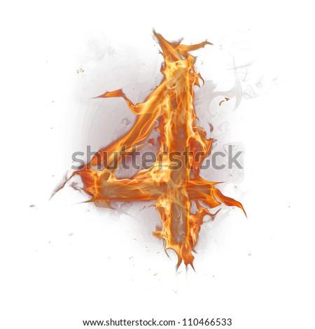 Fire alphabet number 4 - stock photo