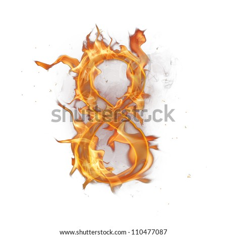 Fire alphabet number 8 - stock photo