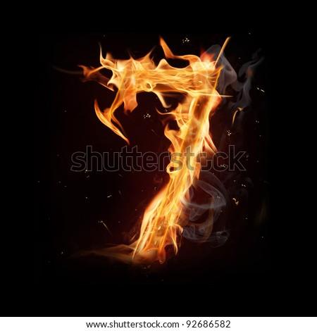 "Fire alphabet number ""7"" - stock photo"