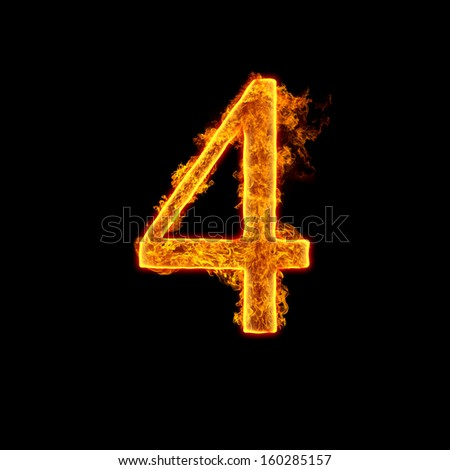 Fire alphabet number 4 four isolated on black background. - stock photo