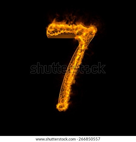 "Fire alphabet number ""7"" isolated on black - stock photo"