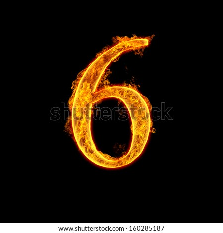 Fire alphabet number 6 six isolated on black background. - stock photo