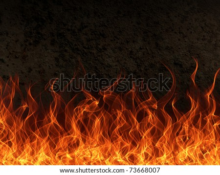 Fire and flame border on rust metal background - stock photo