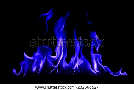 Fire and flames blue on a black background - stock photo