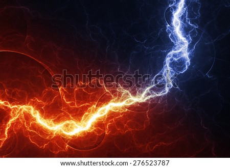 Fire and ice abstract lightning background, clash of the elements - stock photo