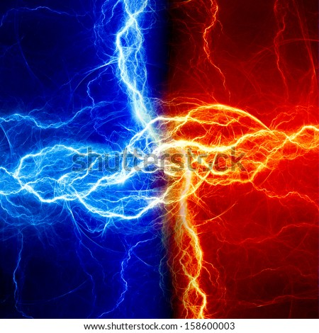 Fire and ice fractal lightning - stock photo
