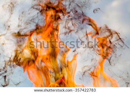 Fire and Light smoke abstract background. - stock photo