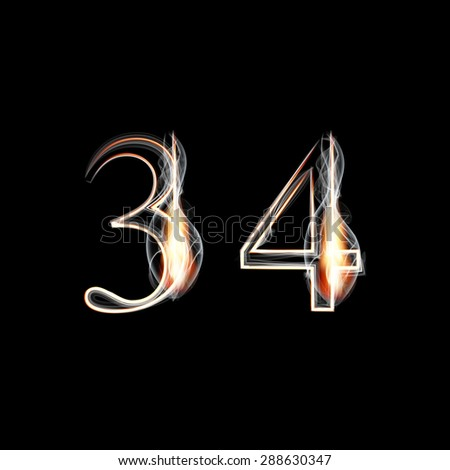 Fire and Smoke font. Numbers 3 4. Raster version - stock photo