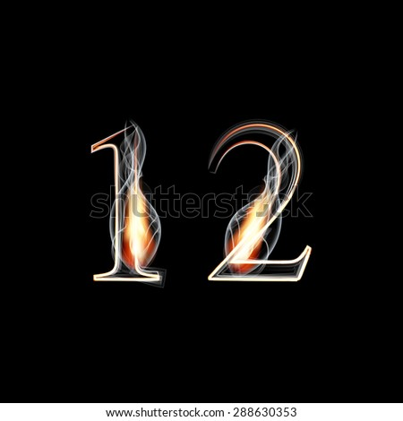 Fire and Smoke font. Numbers 1 2. Raster version - stock photo