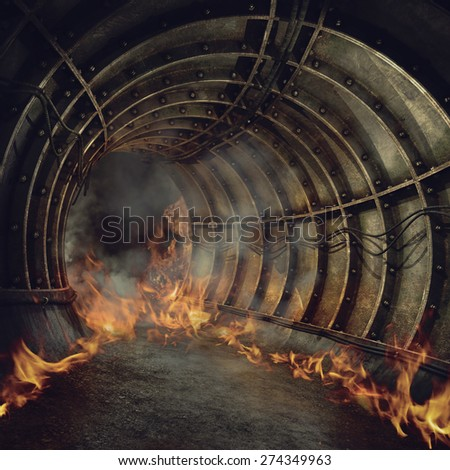 Fire and smoke in an old industrial tunnel - stock photo