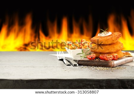 fire and stone  - stock photo