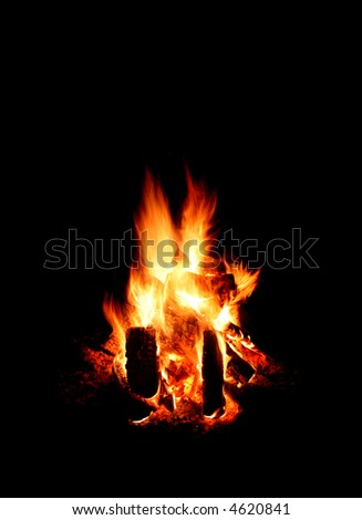 Fire at night - stock photo