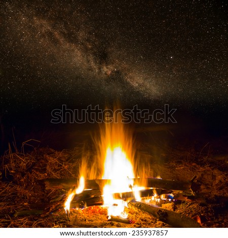 fire at the night - stock photo