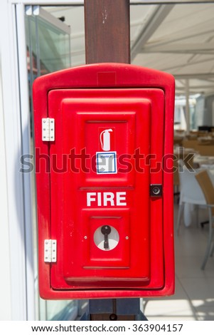 Fire box on the wall of the restaurant - stock photo