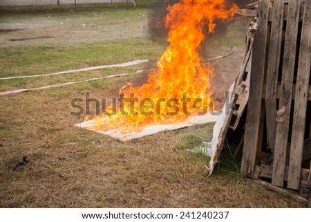 fire Burning , fire exercise - stock photo