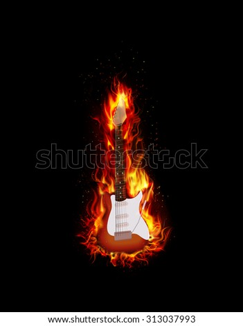 Fire burning guitar black background - stock photo