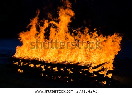 Fire burning wood pile , closeup abstract background - stock photo