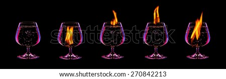 fire cocktail collection isolated on a black background - stock photo