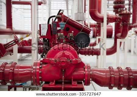 fire control room/ Fire Engine and  piping - stock photo
