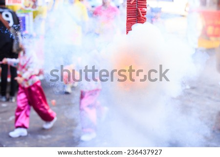 Fire crackers at cerebration day - stock photo