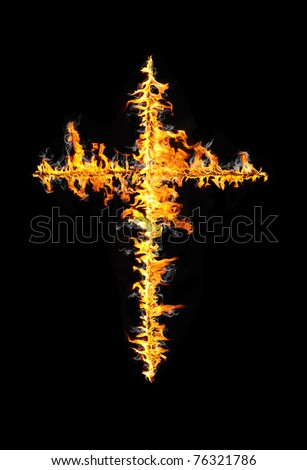 fire cross isolated on black - stock photo