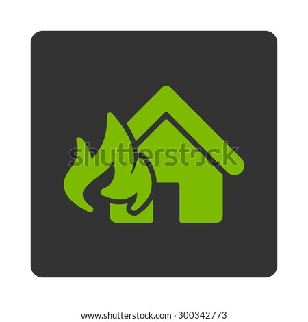 Fire Damage icon. This flat rounded square button uses eco green and gray colors and isolated on a white background. - stock photo