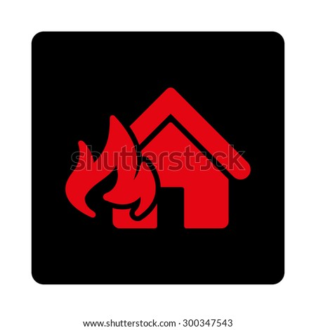 Fire Damage icon. This flat rounded square button uses intensive red and black colors and isolated on a white background. - stock photo