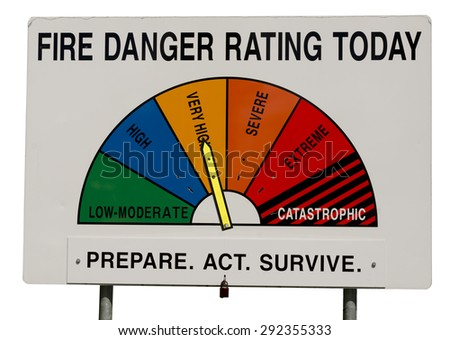 Fire Danger Rating Display Board. Sign has half circle broken up to segments representing fire danger level. Dial gauge set to very high. Isolated on white background. Image taken in Australia. - stock photo