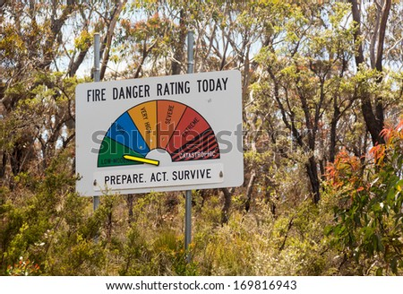 Fire Danger warning sign in Blue Mountains of Australia set to Low or Moderate on the alert scale - stock photo