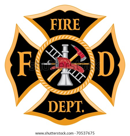 Fire Department Maltese Cross Symbol is an illustration. Contains an image of a firefighter helmet, hook, ladder, nozzle and axe. - stock photo