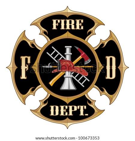 Fire Department Maltese Cross Vintage - stock photo